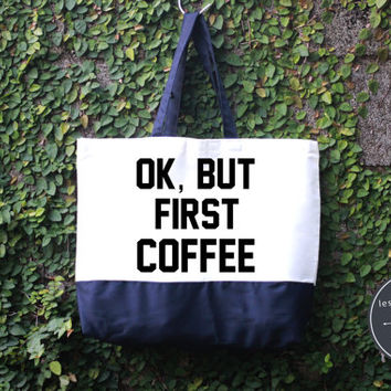 OK But First Coffee Tote Bag, Handmade Bag, Harry potter Tote Bag, 100% cotton canvas, Canvas tote