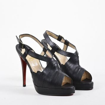 HCXX Christian Louboutin Black Leather Chevron Stitched   City Girl   Sandals