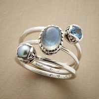 Pearl Labradorite & Blue Topaz Three-Ring Set | Robert Redford's Sundance Catalog