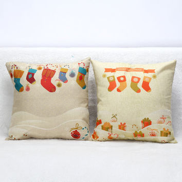 3D Christmas Sock Cotton Pillow Covers Luxury Seat Chair Bed Throw Pillow Case