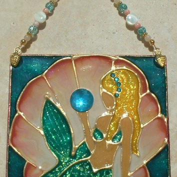 Blonde Mermaid Beach Art Stained Glass Mermaid Decor Suncatcher Stained Glass Panel Ornament Gift for Mom Girls Wall Hanging Wall Jewelry