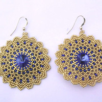 Handmade Genuine Swarovski Earrings Sapphire Crystal Glass Seed Beads 14K Gold Filled Filigree Beadwoven Beaded Jewelry Beadwork