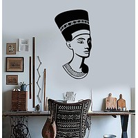 Wall Vinyl Sticker Nefertiti Pharaoh Ancient Egyptian Queen History Art Unique Gift (n070)