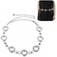 Silver Rhinestone Metal Circle Belt Ladies Waist Chain Body Jewelry