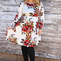 Never Ending Floral Print Dress With Pockets ~ Ivory ~ Sizes 12-18