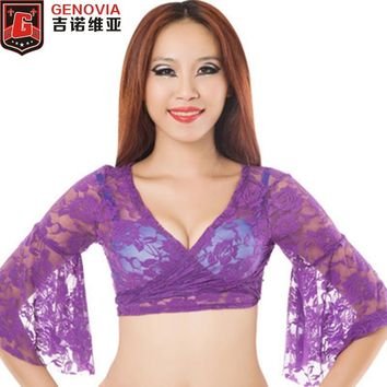 Belly Dance Bolero Lace Top Flared Blouse Women Sexy Lace Top Female Dance Clothes Colour 13