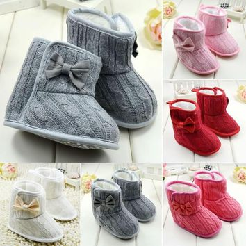 Infant Baby Fur Snow Boots Girl Toddler Knit Prewalker Bowknot Crib Shoes = 1931507844