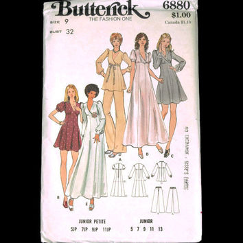 Butterick Pattern 6880 Junior Petite Size 9 Bust 32 Dress Tunic Pants UC Easy Sewing Projects Pattern Tutorial Vintage Clothing 60s 70s