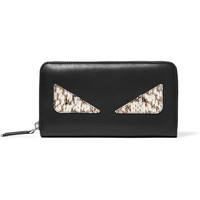 Fendi - Monster Eyes leather and elaphe continental wallet