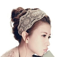 Womens Lace Headband Retro Hair Band Wide Headwraps Hair Accessories (black)