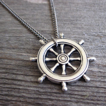 Men's Necklace - Blackend Silver Plated Steering Wheel Pendant - Mens Jewelry - Mens Cool Jewelry - Gift For Him
