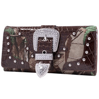 Brown Camouflage Purse Trifold Wallet with Rhinestone Buckle