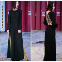 womens jumpsuit,black jumpsuit,,wide leg,long sleeve,backless,open back,sexy,high fashion,unique,womens clothing.custom made.--E0533