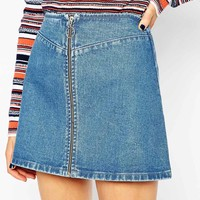 ASOS PETITE Denim A-Line Skirt With Zip Front
