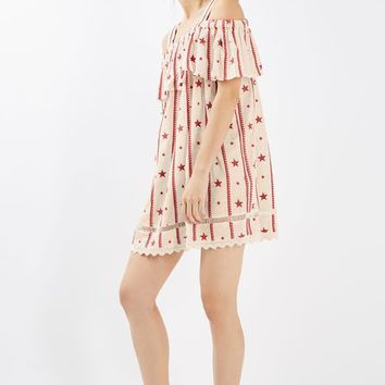 Ivory Star Embroidered Bardot Dress