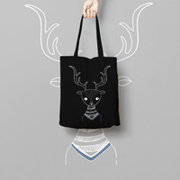 Black Canvas Tote Bag Deer - Printed Tote Bag - Market Bag - Cotton Tote Bag - Large Canvas Tote - Deer Tote Bag Monochrome Silhoutte