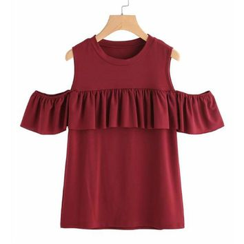 Sweet Ruffles Off Shoulder Solid Cotton Tees
