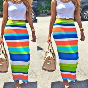 White Sleeveless Tank Top with Striped Skirt Twinset
