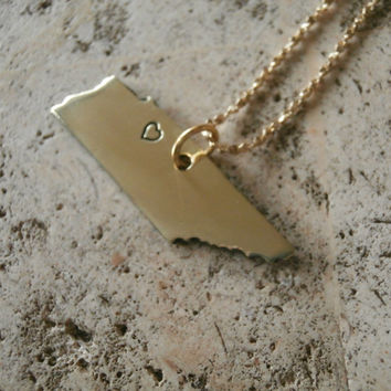 Gold Tennessee State hand stamped Heart Necklace