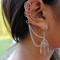 Silver Dream Catcher Ear Cuff Earring