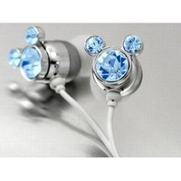 Blue Crystal Mickey Cartoon Cute Lovely Fashion Earphone headphone For Apple iPod MP3 player