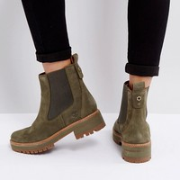 Timberland Courmayeur Valley Olive Chelsea Boots at asos.com