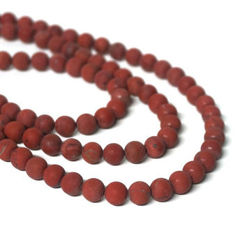 6mm matte red jasper beads, round gemstone bead, Full strand (1119S)