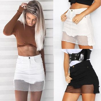 Mesh Front Skirt - Fashion Women Net Denim Skirt High Waist Bodycon Slim Pencil Short Mini Skirt