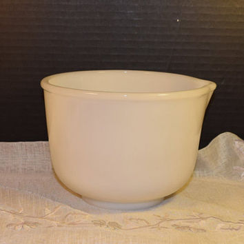 Glasbake White Glass Mixing Bowl 17 Vintage Replacement Glasbake Mixing bowl for Sunbeam Mixer Made in USA White Milk Glass Small Bowl