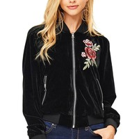 Velvet Rose Bomber Jacket