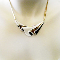 Vintage Avon Porcelain White Gold Black Choker Necklace Wave  # 2