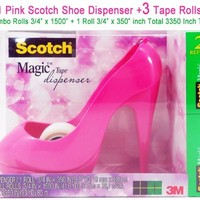 Scotch Magic Tape Dispenser - Pink High Heel Shoe with one refill roll