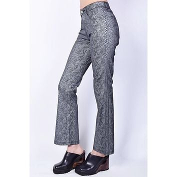 Deadstock Morgan Metallic Snake Skin Print Flare Pants