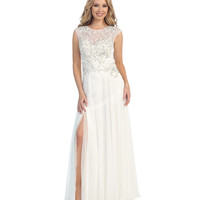 Off White Sheer Beaded Chiffon Gown 2015 Prom Dresses
