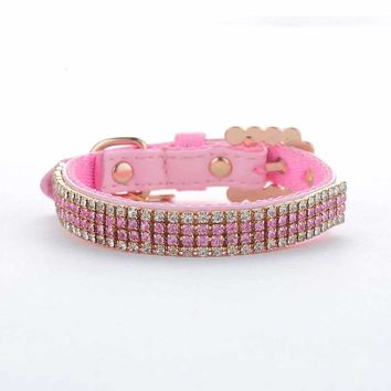 Pet Collar Hot Jewelry Rhinestone PU Leather Complex Nylon Very Gemstone studded Puppy Dog Collar Size S M L Pink Supplies