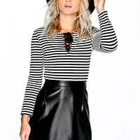 Emma Stripped Lace Up Scuba Top