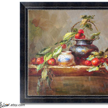 Still Life Oil Painting, Classical Art, Impressionist Art, Dinning Room Art, Kitchen Art. Canvas Painting, Ready For Framing