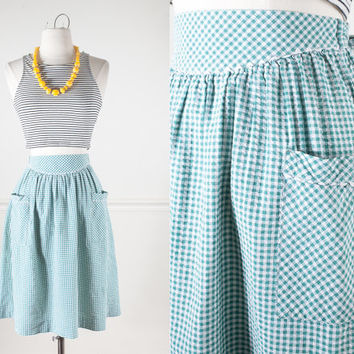 Green and White Seersucker Skirt / 1950s Style Skirt / High Waist Midi Skirt / Pin Up Clothing / 80s Does 50s Mid Century Modern Rockabilly