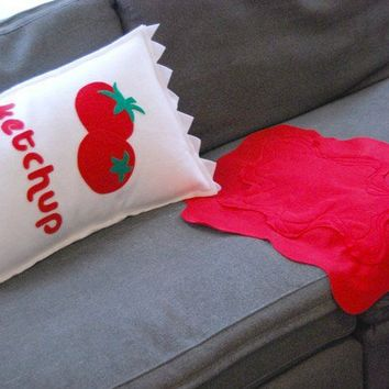 With Ketchup on the Side Pillow and Spill by diffractionfiber