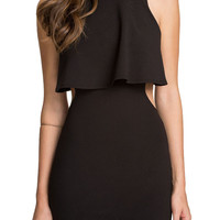Black Sleeveless Backless Flounce Bodycon Dress