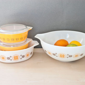 Pyrex Town and Country Casserole Set, Cross Stitch, Cinderella Mixing Bowl, Oval Casserole, Round Casseroles, 6 Piece SET