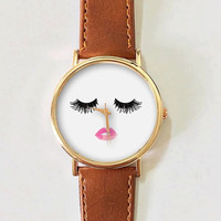 Eyelashes and Lips Watch, Vintage Style Leather Watch, Women Watches,Unisex Watch,Boyfriend Watch,Men's Watch,Pink Black White Makeup