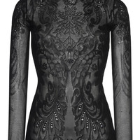 Black Lace Knit Bodysuit | Moda Operandi