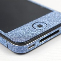 Nice Cool Shiny Sparking  Blue Rhinestone Fashion Sticker For iPhone 4S/5