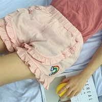 Kawaii Rainbow Embroidery Elastic Shorts