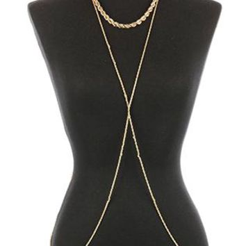 Body Chain Twisted Rope Metal Necklace