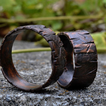 Matching Copper His Hers  Ring Set- Engraved Copper Wedding Engagement Bands, Wood grain Textured Rings,  Grooves, Slashes, Dark Copper Finish