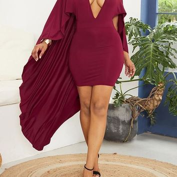Burgundy Pleated Deep V-neck With Cloak Bodycon Elegant Party Maxi Dress