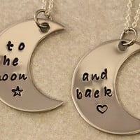 Love You To the Moon and Back - Mother Daughter Jewelry - Hand Stamped Jewelry - Stainless Steel - Mothers Day Gift