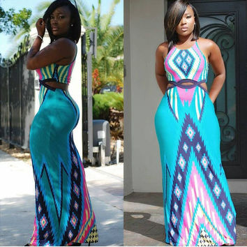 Geometric Print Sleeveless Cut-Out Maxi Dress